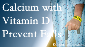 Calcium and vitamin D supplementation may be recommended to Groton chiropractic patients who are at risk of falling.