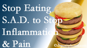 Groton chiropractic patients do well to avoid the S.A.D. diet to decrease inflammation and pain.