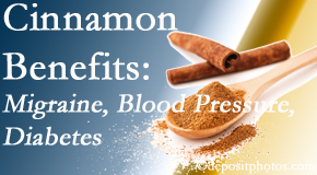 Shoreline Medical Services/ Hutter Chiropractic Office shares research on the benefits of cinnamon for migraine, diabetes and blood pressure.