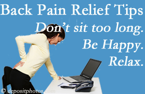 Hutter Chiropractic Office reminds you to not sit too long to keep back pain at bay!