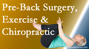 Hutter Chiropractic Office suggests beneficial pre-back surgery chiropractic care and exercise to physically prepare for and possibly avoid back surgery.