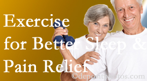Hutter Chiropractic Office incorporates the recommendation to exercise into its treatment plans for chronic back pain sufferers as it improves sleep and pain relief.