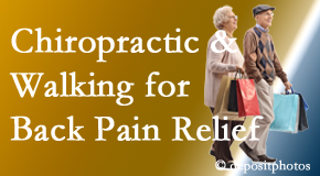 Shoreline Medical Services/ Hutter Chiropractic Office encourages walking for back pain relief in combination with chiropractic treatment to maximize distance walked.