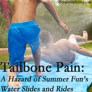 Hutter Chiropractic Office uses chiropractic manipulation to ease tailbone pain after a Groton water ride or water slide injury to the coccyx.