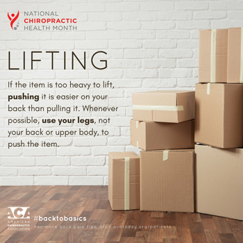 Shoreline Medical Services/ Hutter Chiropractic Office advises lifting with your legs.