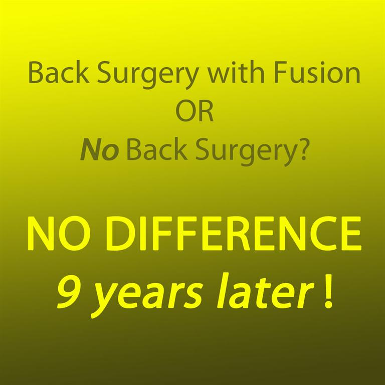 Picture comparing back surgery and no back surgery