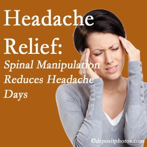 Groton chiropractic care at Hutter Chiropractic Office may reduce headache days each month.