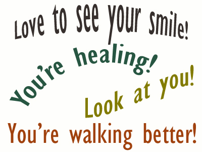 Use positive words to support your Groton loved one as he/she gets chiropractic care for relief.