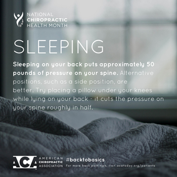 Shoreline Medical Services/ Hutter Chiropractic Office recommends putting a pillow under your knees when sleeping on your back.